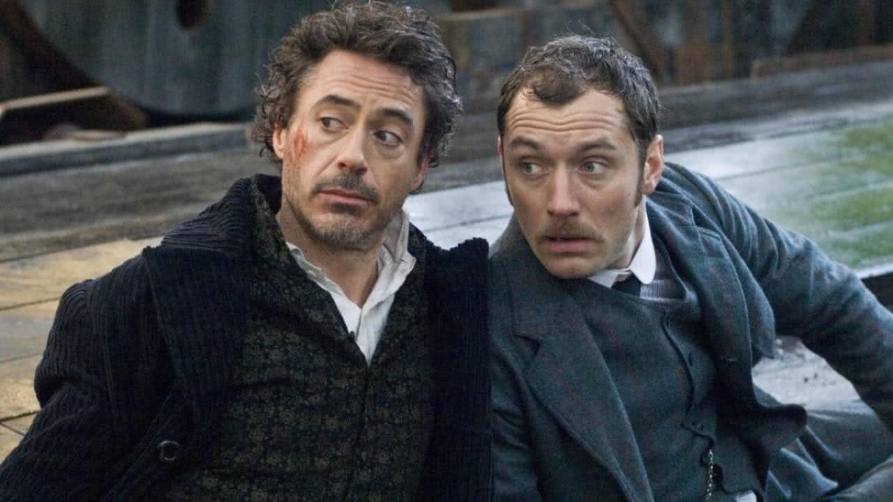 Robert Downey Jr. e Jude Law em Sherlock Holmes