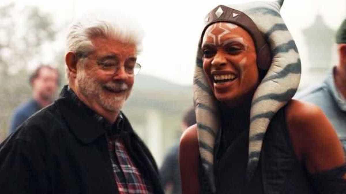 George Lucas e Rosario Dawson no set de The Mandalorian (Divulgação)