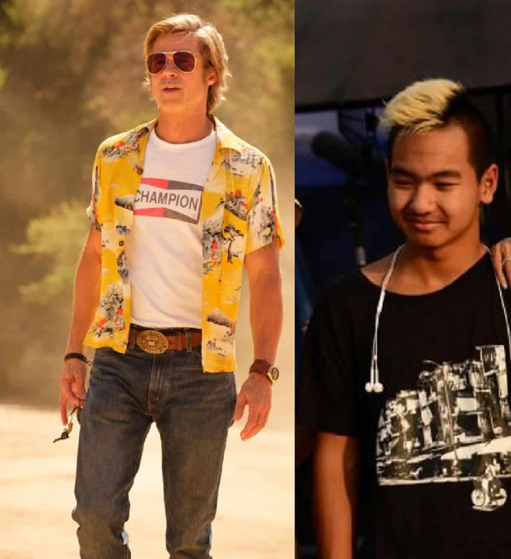 Brad Pitt em Era uma Vez em Hollywood e Maddox Jolie Pitt em First They Killed My Father (Montagem com fotos de divulgação)