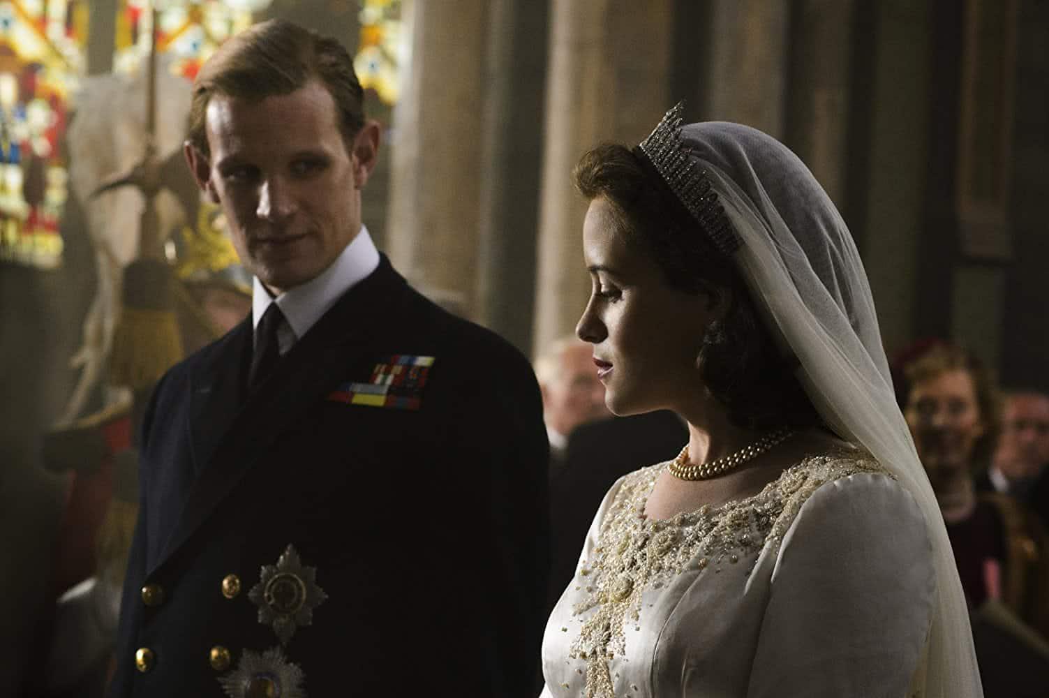Príncipe Phillip (Matt Smith) e Rainha Elizabeth (Claire Foy) em The Crown (Reprodução)