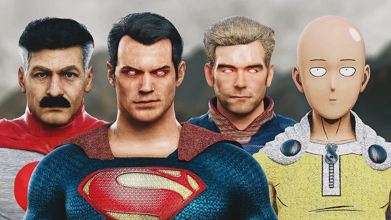 Omini-Man, Superman, Capitão Pátria e Saitama